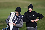 5th October 2017, The Old Course, St Andrews, Scotland; Alfred Dunhill Links Championship, first round; Lasse Jensen of Denmark shares a laugh with his caddie during the first round at the Alfred Dunhill Links Championship on the Old Course, St Andrews