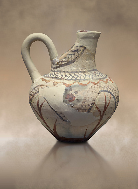 Cycladic cut away jug with floral and net pattern.   Cycladic (1650-1450 BC) , Phylakopi III, Melos. National Archaeological Museum Athens. Cat no 5757<br /> <br /> This jug has a strainer in the spout with floral patterns. Ceramic shapes and painted style are heavily influenced by Minoan styles during this period. Dark floral and spiral patterns are painted over a lighted backgound with wavy bands.
