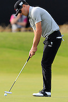 Zach Johnson (USA) takes his birdie putt on the 14th green during Thursday's Round 1 of the 145th Open Championship held at Royal Troon Golf Club, Troon, Ayreshire, Scotland. 14th July 2016.<br /> Picture: Eoin Clarke | Golffile<br /> <br /> <br /> All photos usage must carry mandatory copyright credit (&copy; Golffile | Eoin Clarke)