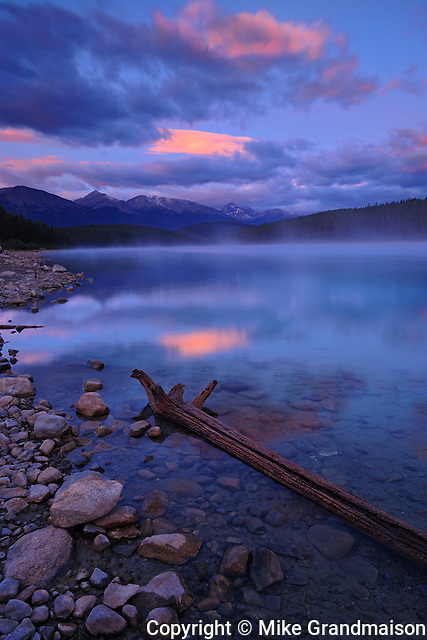 Dawn on Patricia Lake and the Canadian Rockies<br /> Jasper National Park<br /> Alberta<br /> Canada