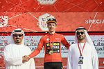 Race leader Primoz Roglic (SLO) Team Jumbo-Visma retains the Red Jersey at the end of Stage 2 of the 2019 UAE Tour, running 184km form Yas Island Yas Mall to Abu Dhabi Breakwater Big Flag, Abu Dhabi, United Arab Emirates. 25th February 2019.<br /> Picture: LaPresse/Fabio Ferrari | Cyclefile<br /> <br /> <br /> All photos usage must carry mandatory copyright credit (© Cyclefile | LaPresse/Fabio Ferrari)