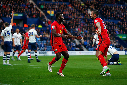 21.11.2015. Deepdale, Preston, England. Skybet Championship. Preston North End versus Blackburn. Hope Akpan of Blackburn Rovers celebrates scoring his teams first goal (0-1)