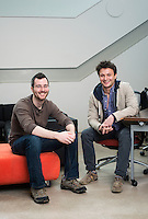 "gSchool students, from left, Raphael Weiner (cq) and Logan Sears (cq) at Galvanize in Denver, Colorado, Monday, March 4, 2013. Galvanize is a space created to give new tech companies a community atmosphere to work in. Their mission states: Galvanize creates an ""innovation ecosystem"" designed to give entrepreneurs and innovators the best chance of success at the start of their next (or first) big thing. Through the three pillars of Capital, Community, and Curriculum, Galvanize builds a community greater than the sum of its parts to spark disruptive ideas and breakout companies."