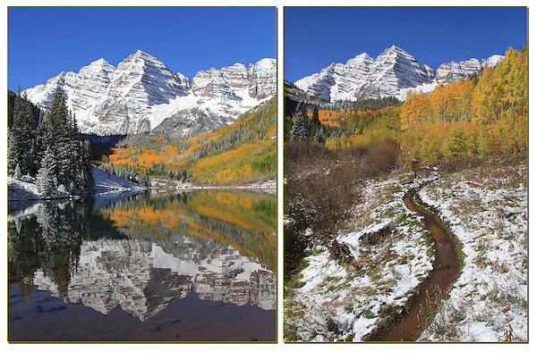The classic, Maroon Bells view (left) and a unique perspective (right).<br /> John leads private, photo tours into Colorado's mountains. Click the CONTACT button above for inquiries.