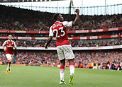 9th September 2017, Emirates Stadium, London, England; EPL Premier League Football, Arsenal versus Bournemouth; Danny Welbeck of Arsenal celebrates scoring his sides 3rd goal in the 48th minute to make it 3-0