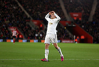 Pictured: Jonjo Shelvey of Swansea disappointed after missing an opportunity to score a goal Sunday 01 February 2015<br /> Re: Premier League Southampton v Swansea City FC at ST Mary's Ground, Southampton, UK.