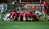 29th September 2017, Parc y Scarlets, Llanelli, Wales; Guinness Pro14 Rugby, Scarlets versus Connacht; The teams engage in a scrum