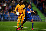 Angel Rodriguez of Getafe FC and Bruno Varela of AFC Ajax during UEFA Europa League match between Getafe CF and AFC Ajax at Coliseum Alfonso Perez in Getafe, Spain. February 20, 2020. (ALTERPHOTOS/A. Perez Meca)
