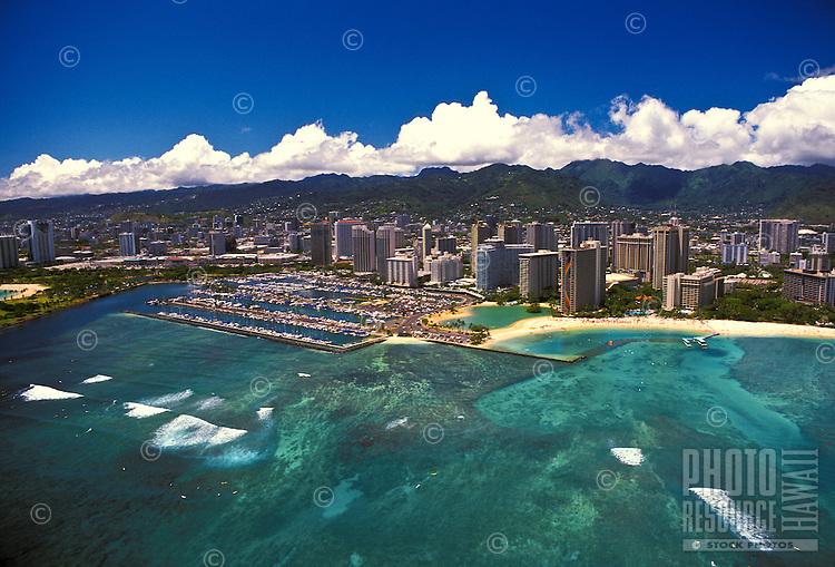 Aerial view of Magic Island, Ala Moana Beach Park,and Waikiki Boat Harbor.