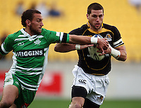 Wellington fullback Cory Jane tries to step inside Aaron Cruden. Air NZ Cup - Wellington Lions v Manawatu Turbos at Westpac Stadium, Wellington, New Zealand. Saturday 3 October 2009. Photo: Dave Lintott / lintottphoto.co.nz