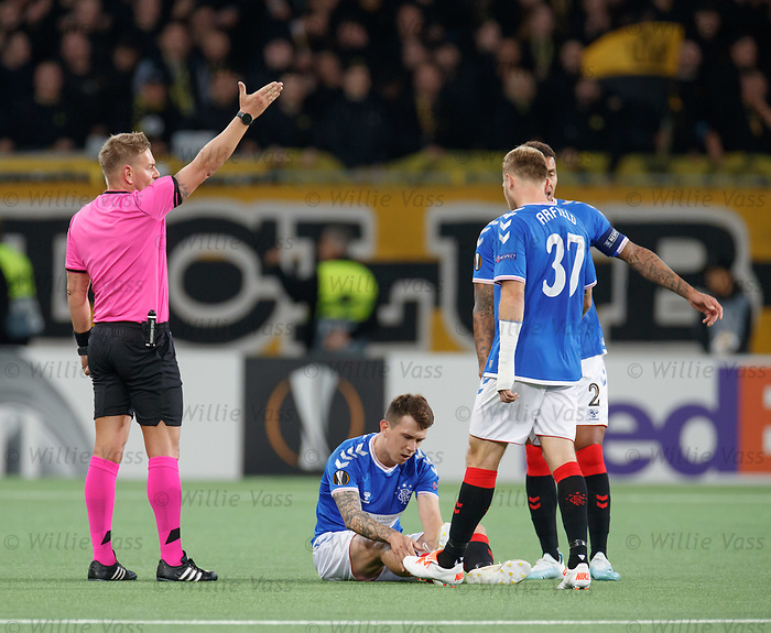03.10.2019 Young Boys of Bern v Rangers: Ryan Jack injured