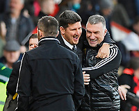 Watford managerNigel Pearson right hugs the Watford technical director at the final whistle during AFC Bournemouth vs Watford, Premier League Football at the Vitality Stadium on 12th January 2020