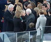 Former United States President Bill Clinton and Secretary of State Hillary Clinton greet Former Jimmy Carter and wife Rosalynn before U.S. President Barack Obama is sworn-in for a second term as the President of the United States by Supreme Court Chief Justice John Roberts during his public inauguration ceremony at the U.S. Capitol Building in Washington, D.C. on January 21, 2013.     .Credit: Pat Benic / Pool via CNP