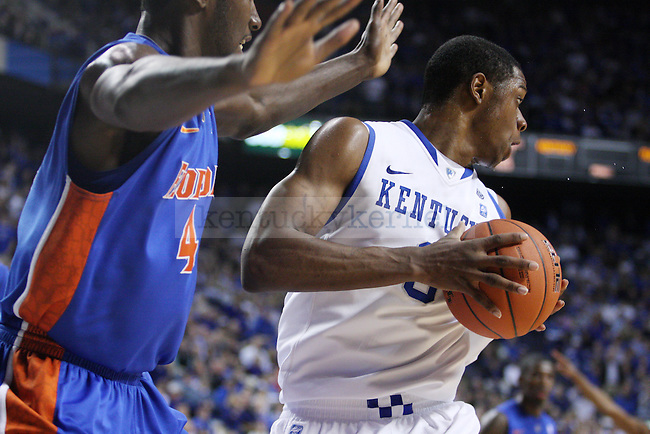 Terrence Jones drives to the basket in the second half of UK's 76-68 against Florida  at Rupp Arena on Saturday, Feb. 26, 2011.  Photo by Britney McIntosh | Staff