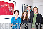 Artist Eileen Healy left shows l-r: Samantha Hunt, Joanne McCarthy and Daniel Stiegler one of her paintings at the opening of the Eileen Healy 'Nudes and Potraits' and Bridget Flannery 'Abstract Work inspired by visit to Bejing' in the McBride Gallery Killarney on Friday    Copyright Kerry's Eye 2008