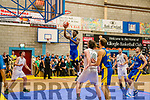 Pierre Newton, Keane's Killorglin goes for the basket watched closely by team mates Ivan Bogdanovic and Daragh Jones, and Moycullen's Joseph Summon and Dylan Cunningham in Killorglin on Saturday night