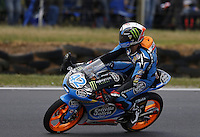 KTM Moto3 rider Alex Rins of Spain celebrates after winning the Australian Motorcycle GP in Phillip Island, Oct 20, 2013. Photo by Daniel Munoz/VIEWpress IMAGE RESTRICTED TO EDITORIAL USE ONLY- STRICTLY NO COMMERCIAL USE.