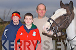 "FIRM: TimMcEllistrem keeping a firm grip on his horse ""Tupence"" at the Abbey Hunt run by the North Kerry Harriers on Sunday. L-r: Alban Stack(Abbeydorney), Tadhg and Tim McEllistrem(Ballylongford)........... . ............................... .........."