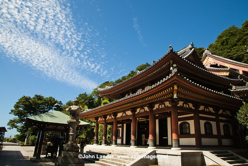 Hase-Dera Temple known more formally as Kaikozan Jishoin Hase-dera is one of the great Buddhist temples in the city of Kamakura. The temple is the fourth of the 33 stations of the Bando Sanju san kasho pilgrimage circuit dedicated to the goddess Benzaiten.<br /> The temple originally belonged to the Tendai sect of Buddhism but eventually became an independent temple of the Jodo sect.  Its Kannon statue is a treasure of Japan The statue is one of the largest wooden statues in Japan, with a height of 9 meters, made from camphor and gilded in gold. It has 11 heads each of which represents a phase in the search for enlightenment.