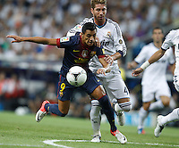 29.08.2012 Spain Supercopa, Real Madrid won (2-1) at Barcelona and was presented on goalaverage to win its ninth Supercopa of Spain) at Santiago Bernabeu stadium. The picture show Sergio Ramos (Spanish defender of Real Madrid) and Alexis Alejandro Sanchez (Chilean forward of Barcelona)