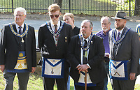 NWA Democrat-Gazette/DAVID GOTTSCHALK Members of the Free and Accepted Masons, Washington Lodge No. 1 in Fayetteville, attended Friday, October 5, 2018, the dedication ceremony of a new historical marker at the Fayetteville Evergreen Cemetery The new marker, from the Department of Arkansas Heritage, is the first in Northwest Arkansas and the second in the state to be installed. The cemetery was established in 1847 and added to the National Register of Historic Places in 1997.