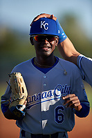 AZL Royals center fielder Diego Hernandez (6) is congratulated after throwing a runner out at third base during an Arizona League game against the AZL White Sox at Camelback Ranch on June 19, 2019 in Glendale, Arizona. AZL White Sox defeated AZL Royals 4-2. (Zachary Lucy/Four Seam Images)