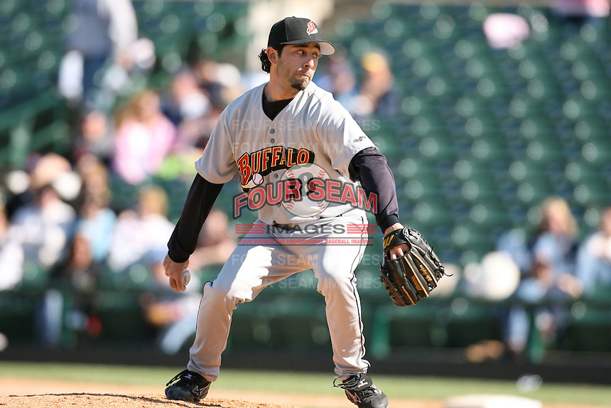 Buffalo Bisons, Class-AAA affiliate of the Cleveland Indians.  Photo by:  Mike Janes/Four Seam Images