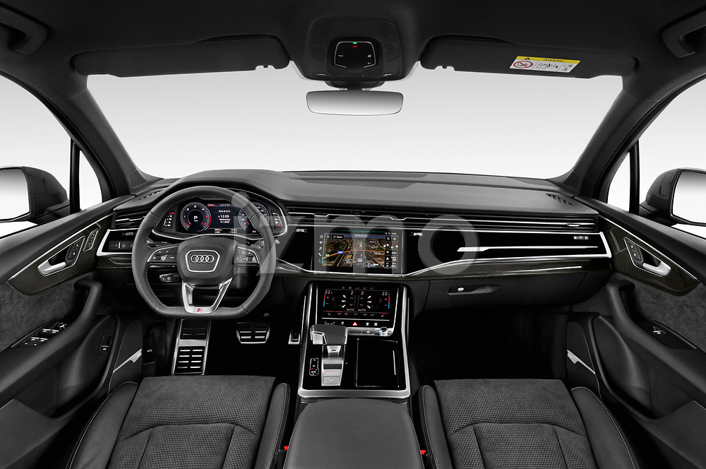 Stock photo of straight dashboard view of 2020 Audi Q7 S-Line 5 Door SUV Dashboard
