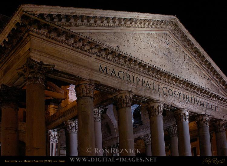 Pantheon exterior at night inscription Marcus Agrippa Hadrian Campus Martius Rome