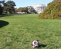 "D.C. United ball on the White House lawn during a  D.C United clinic in support of first lady Michelle Obama's ""Let's Move"" initiative on the White House lawn, in Washington D.C. on October 7 2010."