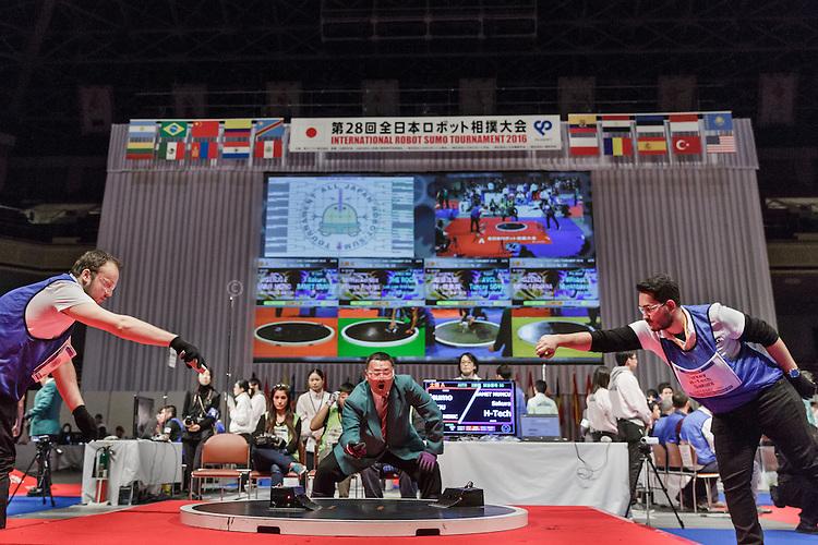 Tokyo, Japan, December 18 2016 - International ROBOT SUMO tournament 2016, held in the Ryogoku Kokugikan, the stadium for sumo tournaments. Part 2: International competition.