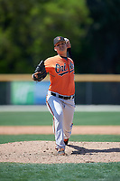 Baltimore Orioles pitcher Yelin Rodriguez (72) delivers a pitch during a minor league Spring Training game against the Tampa Bay Rays on March 29, 2017 at the Buck O'Neil Baseball Complex in Sarasota, Florida.  (Mike Janes/Four Seam Images)