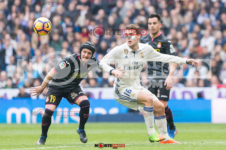 Pablo Piatti of RCD Espanyol competes for the ball with Mateo Kovacic of Real Madrid during the match of La Liga between Real Madrid and RCE Espanyol at Santiago Bernabeu  Stadium  in Madrid , Spain. February 18, 2016. (ALTERPHOTOS/Rodrigo Jimenez) /Nortephoto.com