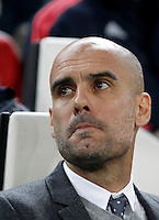 Calcio, andata degli ottavi di finale di Champions League: Juventus vs Bayern Monaco. Torino, Juventus Stadium, 23 febbraio 2016. <br /> Bayern's coach Josep Guardiola waits for the start of the Champions League round of 16 first leg soccer match between Juventus and Bayern at Turin's Juventus Stadium, 23 February 2016.<br /> UPDATE IMAGES PRESS/Isabella Bonotto