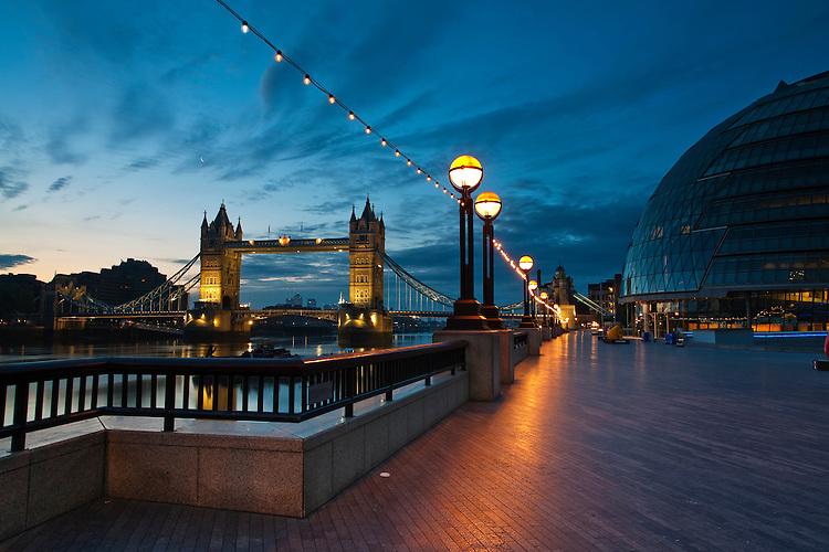 Tower Bridge and City Hall at sunrise, London, Uk