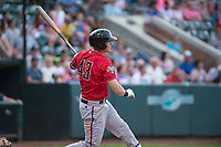 Billings Mustangs right fielder Bren Spillane (43) follows through on his swing during a Pioneer League game against the Ogden Raptors at Lindquist Field on August 17, 2018 in Ogden, Utah. The Billings Mustangs defeated the Ogden Raptors by a score of 6-3. (Zachary Lucy/Four Seam Images)