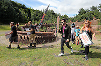 Pictured: People by the mythical beast sculpture by artist Gwen Heeney Saturday 13 August 2016<br />