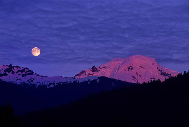 USA, WASHINGTON STATE , MT. BAKER NATIONAL FOREST, VIEW OF MOUNT BAKER WITH FULL MOON