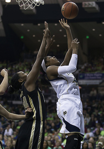 December 29, 2012:  Notre Dame forward Ariel Braker (44) goes up for a shot as Purdue forward Drey Mingo (24) defends during NCAA Women's Basketball game action between the Notre Dame Fighting Irish and the Purdue Boilermakers at Purcell Pavilion at the Joyce Center in South Bend, Indiana.  Notre Dame defeated Purdue 74-47.