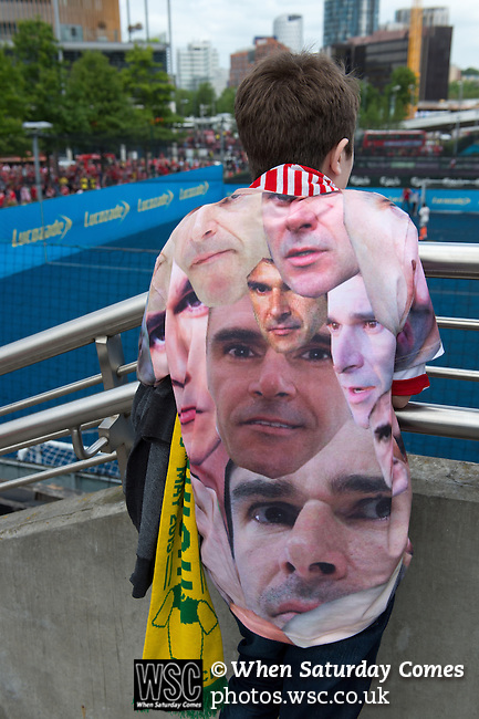 Norwich City 2 Middlesbrough 0, 25/05/2015. Wembley Stadium, Championship Play Off Final. A unusual t-shirt in support of Middlesbrough manager Aitor Karanka. A match worth £120m to the victors. On the day Norwich City secured an instant return to the Premier League with victory over Middlesbrough in front of 85,656. Photo by Simon Gill.