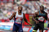 Chijindu Ujah of Great Britain wins the menís 100 metres ahead of Harry Aikines-Aryeetey of Great Britain during the Muller Anniversary Games at The London Stadium on 9th July 2017