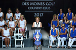 DES MOINES, IA - AUGUST 17: Team United States' captain Juli Inkster addresses the crowd during the opening ceremony at the 2017 Solheim Cup in Des Moines, IA. (Photo by Dave Eggen/Inertia)