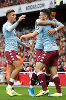 John McGinn of Aston Villa is mobbed after his goal during the Premier League match between Arsenal and Aston Villa at the Emirates Stadium, London, England on 22 September 2019. Photo by Carlton Myrie / PRiME Media Images.