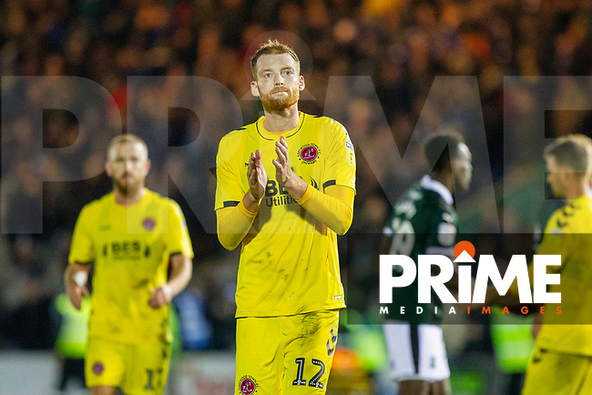 Cian Bolger of Fleetwood Town claps the fans at full time of the Sky Bet League 1 match between Plymouth Argyle and Fleetwood Town at Home Park, Plymouth, England on 25 November 2018. Photo by Mark Hawkins / PRiME Media Images.