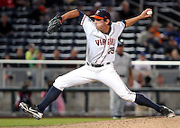 Virginia's Scott Silverstein delivers a pitch in the ninth inning. South Carolina beat Virginia 7-1 at the College World Series on June 21, 2011 in Omaha, Neb. (Photo by Michelle Bishop)..