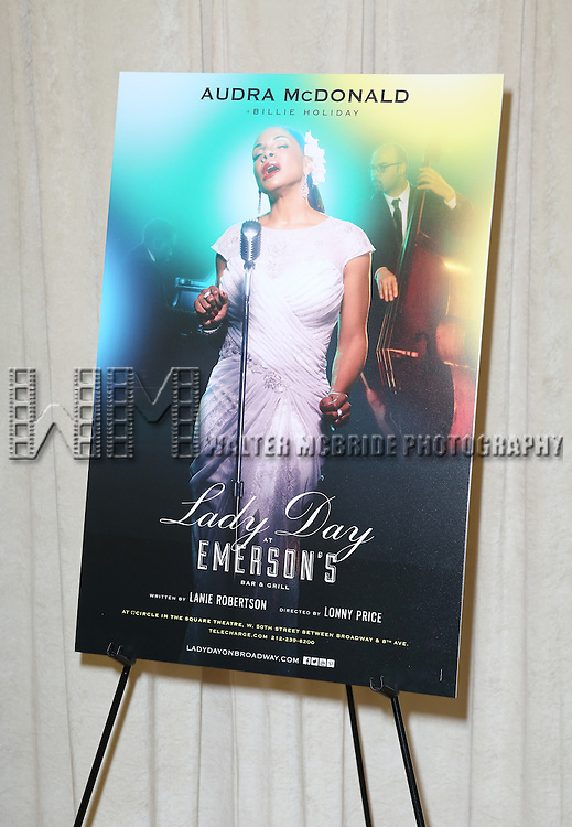 Theatre Poster for  the 'Lady Day at Emerson's Bar & Grill' Media Day at Pearl Studios on March 17, 2014 in New York City.