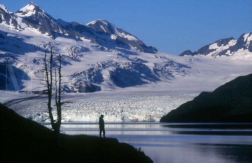 Woman enjoys the view of Harriman Glacier and Fjord in Prince William Sound in southcentral Alaska. M