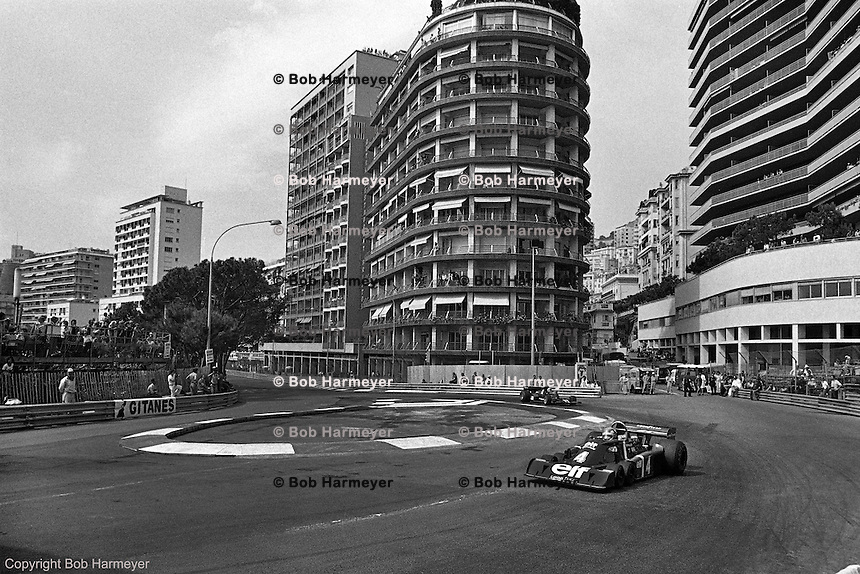 Patrick Depailler drives the Tyrrell P34 Formula 1 car during practice for the 1976 Monaco Grand Prix.