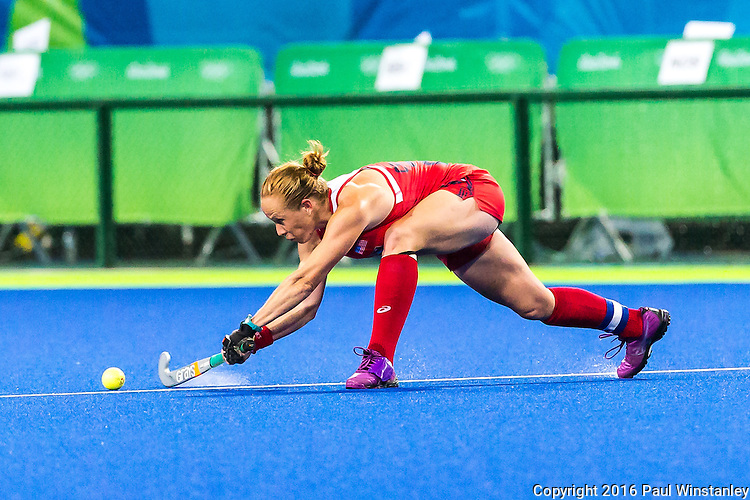 Lauren Crandall #27 of United States passing upfield during USA vs India in a women's Pool B game at the Rio 2016 Olympics at the Olympic Hockey Centre in Rio de Janeiro, Brazil.