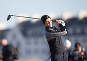 6th October 2017, Carnoustie Golf Links, Carnoustie, Scotland; Alfred Dunhill Links Championship, second round; Actor Matthew Goode tees off on the second hole on the Championship Links, Carnoustie during the second round at the Alfred Dunhill Links Championship